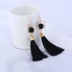 Hollow Rhombus Tassel Pendant Fish Hook Earrings - BLACK