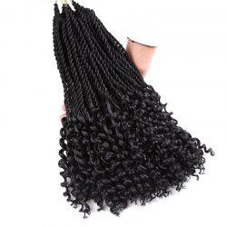 Long Crochet Pre Twisted Flashy Curl Braids Hair Extensions - BLACK