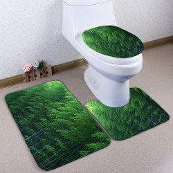 Flannel Skidproof 3Pcs Bamboo Forest Toilet Mat Set - GREEN