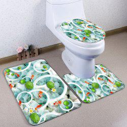 Lotus Pond Flannel Skidproof 3Pcs Toilet Rug Set -