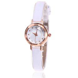 Faux Leather Strap Simple Roundel Watch -