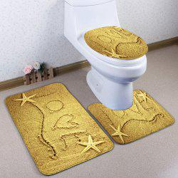 Beach Sand Love 3Pcs Skidproof Flannel Toilet Rug Set