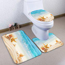 Conch Beach 3Pcs Antislip Flannel Toilet Mat Set - COLORMIX