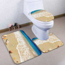 3Pcs/Set Conch Beach Flannel Antislip Toilet Mat - SAND YELLOW