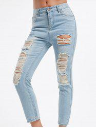 Retro Style Hole Design Bleach Wash Straight-Leg Women's Jeans