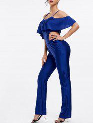 Stylish Spaghetti Strap Sleeveless Flounced Solid Color Women's Jumpsuit -
