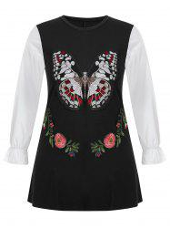 Plus Size Long Sleeve Butterfly Embroidered Top