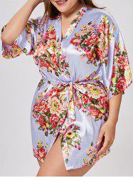 Floral Plus Size Satin Pajama Kimono - LIGHT PURPLE