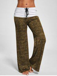 Foldover Heather Palazzo Pants - BROWN 2XL