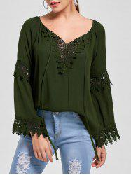 Flare Sleeve Lace Insert Bohemian Blouse -