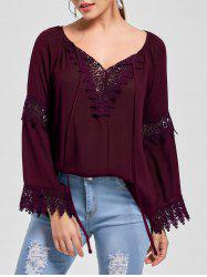 Flare Sleeve Lace Insert Bohemian Blouse - DARK RED