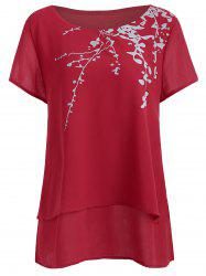 Plus Size Short Sleeve Printed Chiffon Top