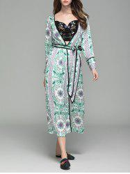 Flower Print Long Sleeve Maxi Cover Up - FLORAL L