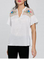 Embroidery Tulle Yoke Blouse