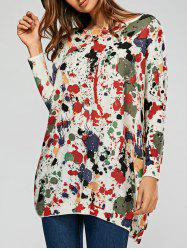 Pullover Splatter Paint Ribbed Drop Shoulder Sweater