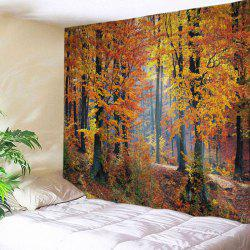 Maple Forest Print Tapestry Wall Hanging Art Decor - Citrus - W91 Inch * L71 Inch