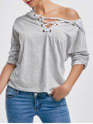Hooded Front Lace Up T-shirt -