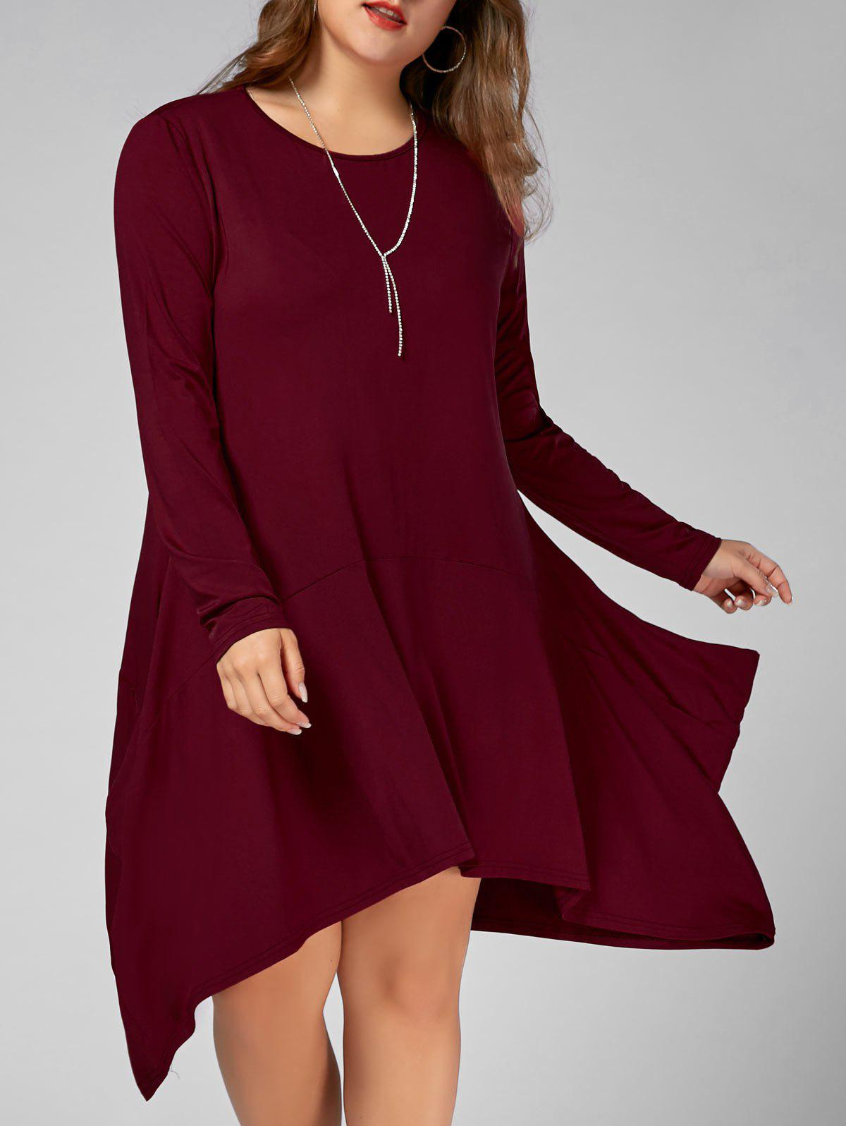 Long Sleeve Plus Size Asymmetric T-shirt Dress with PocketsWOMEN<br><br>Size: 4XL; Color: WINE RED; Style: Casual; Material: Cotton Blend,Polyester; Silhouette: Asymmetrical; Dresses Length: Knee-Length; Neckline: Scoop Neck; Sleeve Length: Long Sleeves; Pattern Type: Solid Color; With Belt: No; Season: Fall,Spring; Weight: 0.4500kg; Package Contents: 1 x Dress;