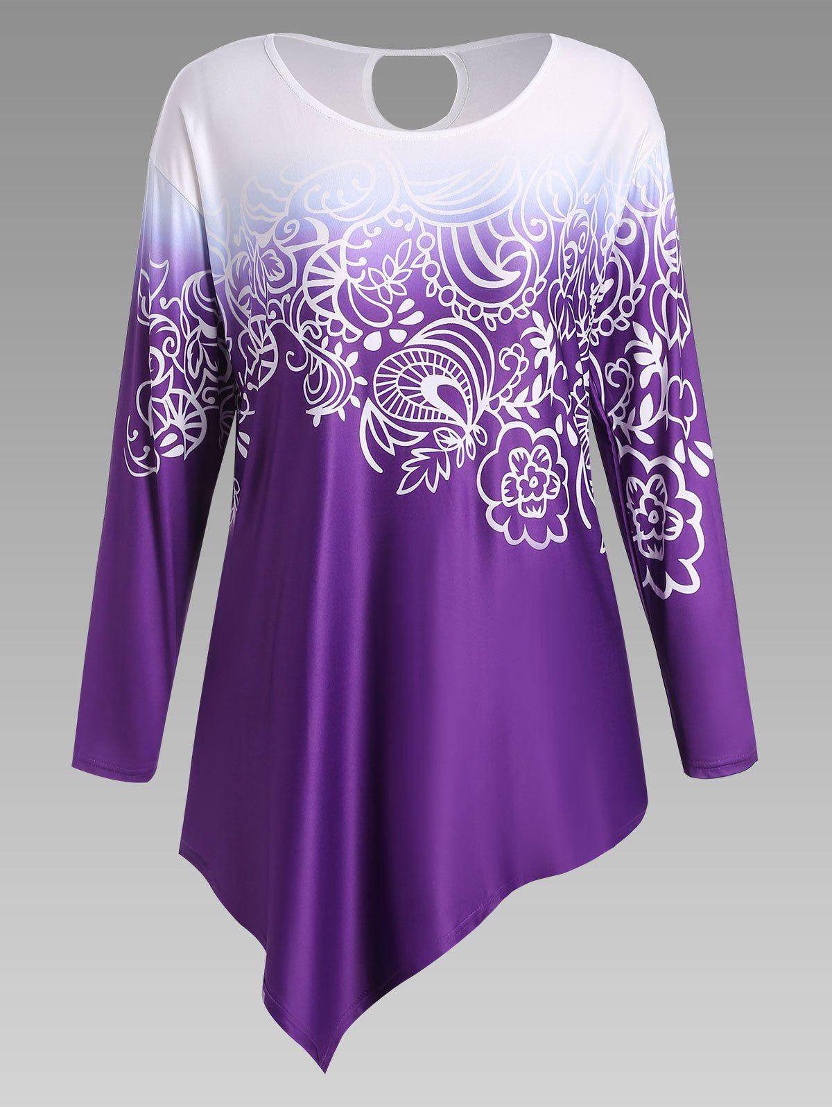 Floral Ombre Long Sleeve Plus Size Asymmetric TopWOMEN<br><br>Size: 3XL; Color: PURPLE; Material: Cotton Blends,Polyester; Shirt Length: Long; Sleeve Length: Full; Collar: Scoop Neck; Style: Fashion; Season: Fall,Spring; Pattern Type: Floral,Ombre; Weight: 0.2500kg; Package Contents: 1 x Top;