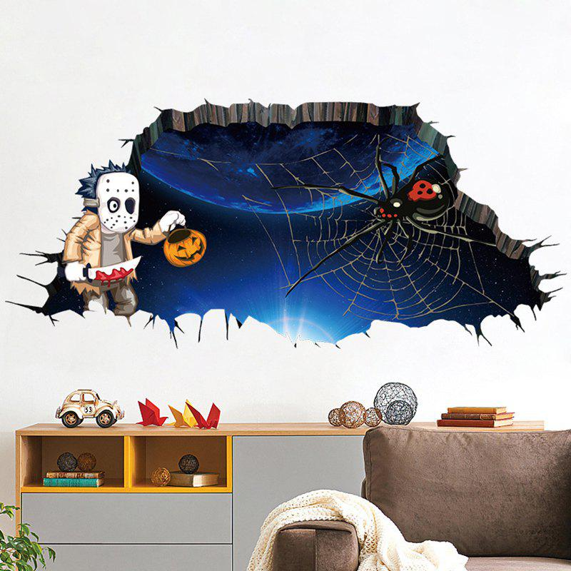 3D Spider Halloween Wall Art StickerHOME<br><br>Color: DEEP BLUE; Wall Sticker Type: 3D Wall Stickers; Functions: Decorative Wall Stickers; Theme: Animals,Halloween; Material: PVC; Feature: Washable; Weight: 0.3240kg; Package Contents: 1 x Wall Sticker;