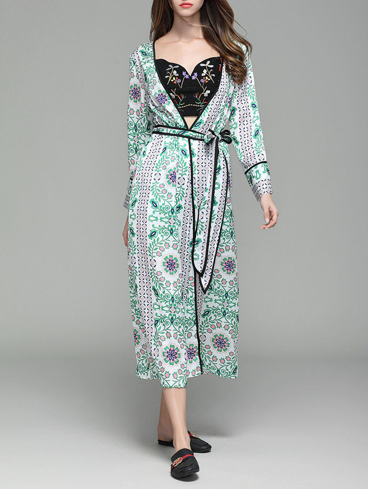 Outfit Flower Print Long Sleeve Maxi Cover Up