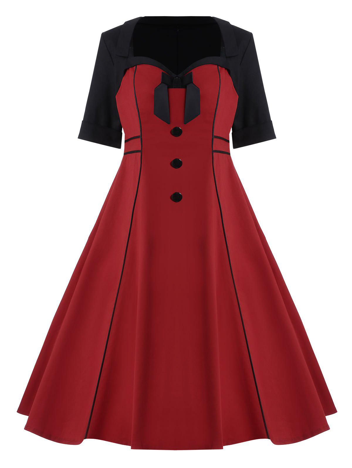 Bowknot Embellished Plus Size Midi Pin Up DressWOMEN<br><br>Size: 4XL; Color: WINE RED; Style: Vintage; Material: Cotton,Cotton Blend,Polyester; Silhouette: Ball Gown; Dresses Length: Mid-Calf; Neckline: Sweetheart Neck; Sleeve Length: Short Sleeves; Waist: High Waisted; Embellishment: Bowknot,Button,Vintage; Pattern Type: Others; With Belt: No; Season: Spring,Summer; Weight: 0.5000kg; Package Contents: 1 x Dress;