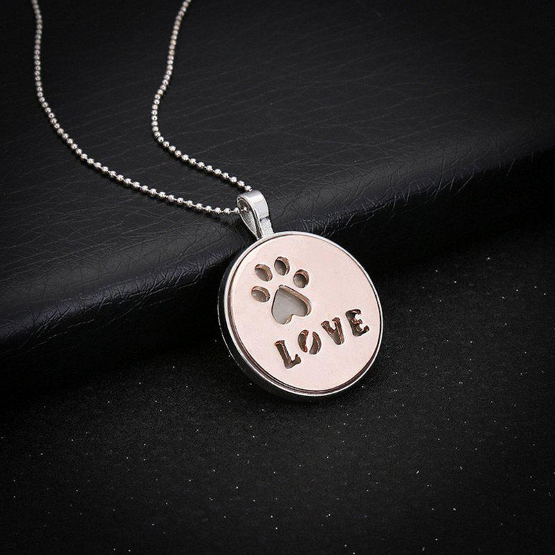 Glow in the Dark Claw Footprint Love NecklaceJEWELRY<br><br>Color: ROSE GOLD; Item Type: Pendant Necklace; Gender: Unisex; Style: Trendy; Shape/Pattern: Heart,Letter,Round; Length: 60CM; Weight: 0.0300kg; Package Contents: 1 x Necklace;