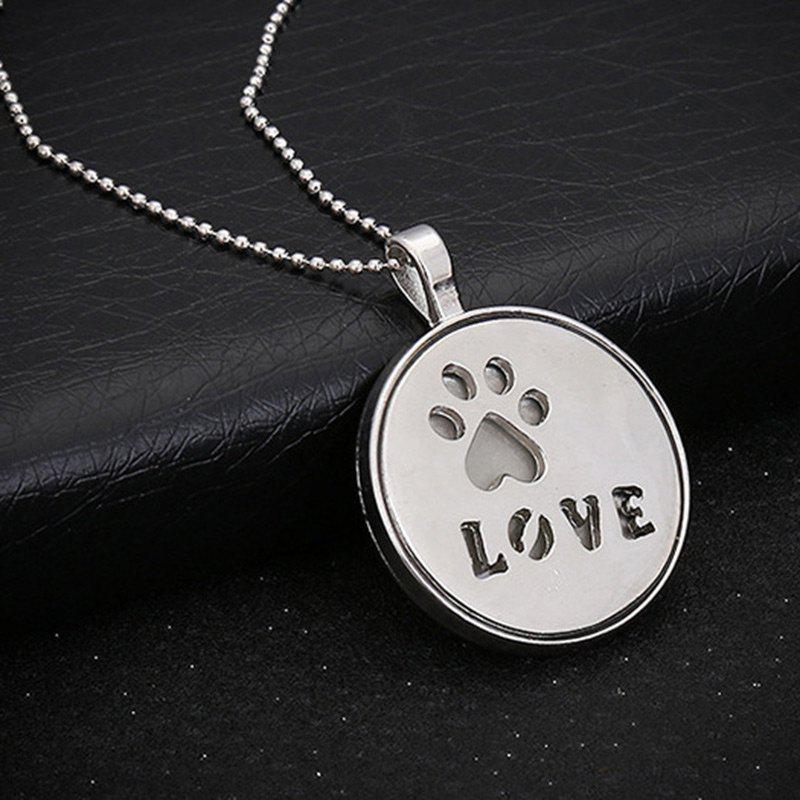 Glow in the Dark Claw Footprint Love NecklaceJEWELRY<br><br>Color: SILVER; Item Type: Pendant Necklace; Gender: Unisex; Style: Trendy; Shape/Pattern: Heart,Letter,Round; Length: 60CM; Weight: 0.0300kg; Package Contents: 1 x Necklace;