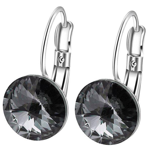 Faux Diamond Drop Clip EarringsJEWELRY<br><br>Color: BLACK; Earring Type: Clip Earrings; Gender: For Women; Metal Type: Alloy; Style: Trendy; Shape/Pattern: Round; Weight: 0.0100kg; Package Contents: 1 x Earrings(Pair);