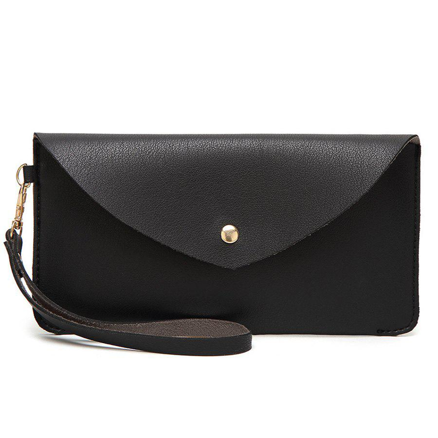 Faux Leather Wristlet Clutch BagSHOES &amp; BAGS<br><br>Color: BLACK; Handbag Type: Day Clutches; Style: Fashion; Gender: For Women; Pattern Type: Solid; Handbag Size: Small(20-30cm); Closure Type: Cover; Occasion: Versatile; Main Material: PU; Weight: 0.2000kg; Size(CM)(L*W*H): 20*1*11; Package Contents: 1 x Clutch Bag;