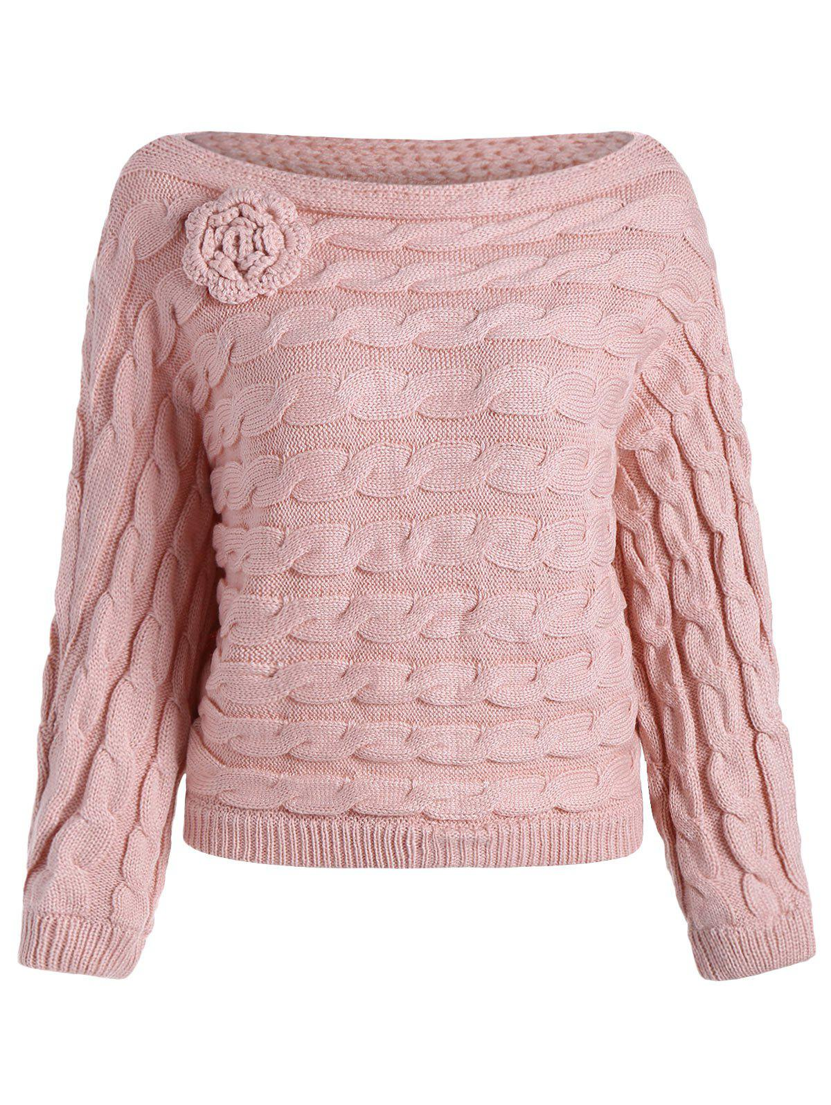 Discount Slash Neck Cable Knit Jumper Sweater