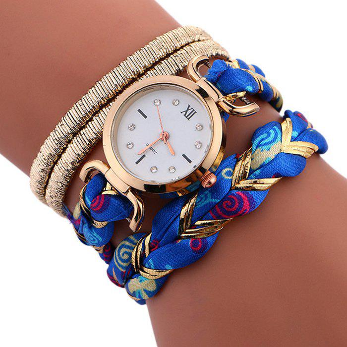 Braided Strap Wrap Bracele WatchJEWELRY<br><br>Color: BLUE; Gender: For Women; Style: Fashion; Type: Bracelet Watch; Index Dial: Analog; Case material: Alloy; Band material: Cloth; Movement: Quartz; Dial Shape: Round; Water-Proof: No; Case Thickness(MM): 6mm; Dial Diameter: 2.7cm; Band Length(CM): 39cm; Package Contents: 1 x Watch;