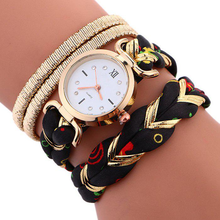 Braided Strap Wrap Bracele WatchJEWELRY<br><br>Color: BLACK; Gender: For Women; Style: Fashion; Type: Bracelet Watch; Index Dial: Analog; Case material: Alloy; Band material: Cloth; Movement: Quartz; Dial Shape: Round; Water-Proof: No; Case Thickness(MM): 6mm; Dial Diameter: 2.7cm; Band Length(CM): 39cm; Package Contents: 1 x Watch;