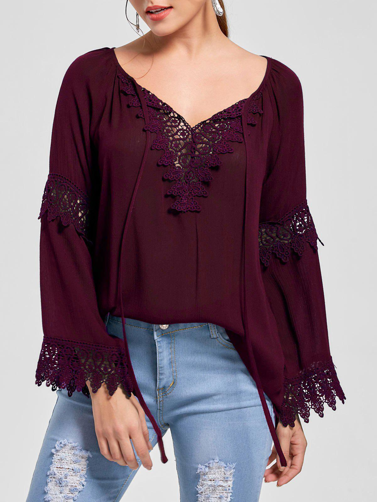 New Flare Sleeve Lace Insert Bohemian Blouse