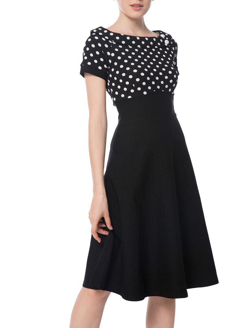 Boat Neck Polka Dot Empire Waist DressWOMEN<br><br>Size: M; Color: BLACK; Style: Vintage; Material: Polyester; Silhouette: A-Line; Dresses Length: Knee-Length; Neckline: Boat Neck; Sleeve Length: Short Sleeves; Waist: Empire; Pattern Type: Polka Dot; With Belt: No; Season: Fall; Weight: 0.5000kg; Package Contents: 1 x Dress;