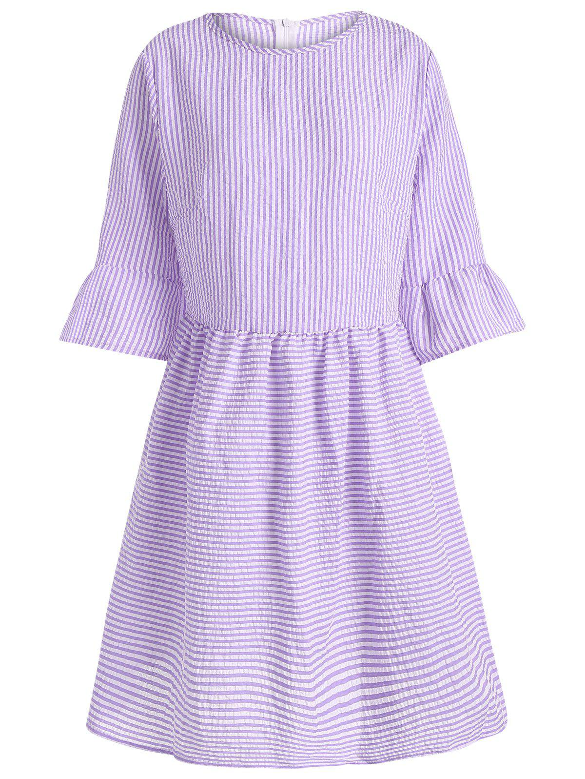 Affordable Flare Sleeve Striped Shift Dress