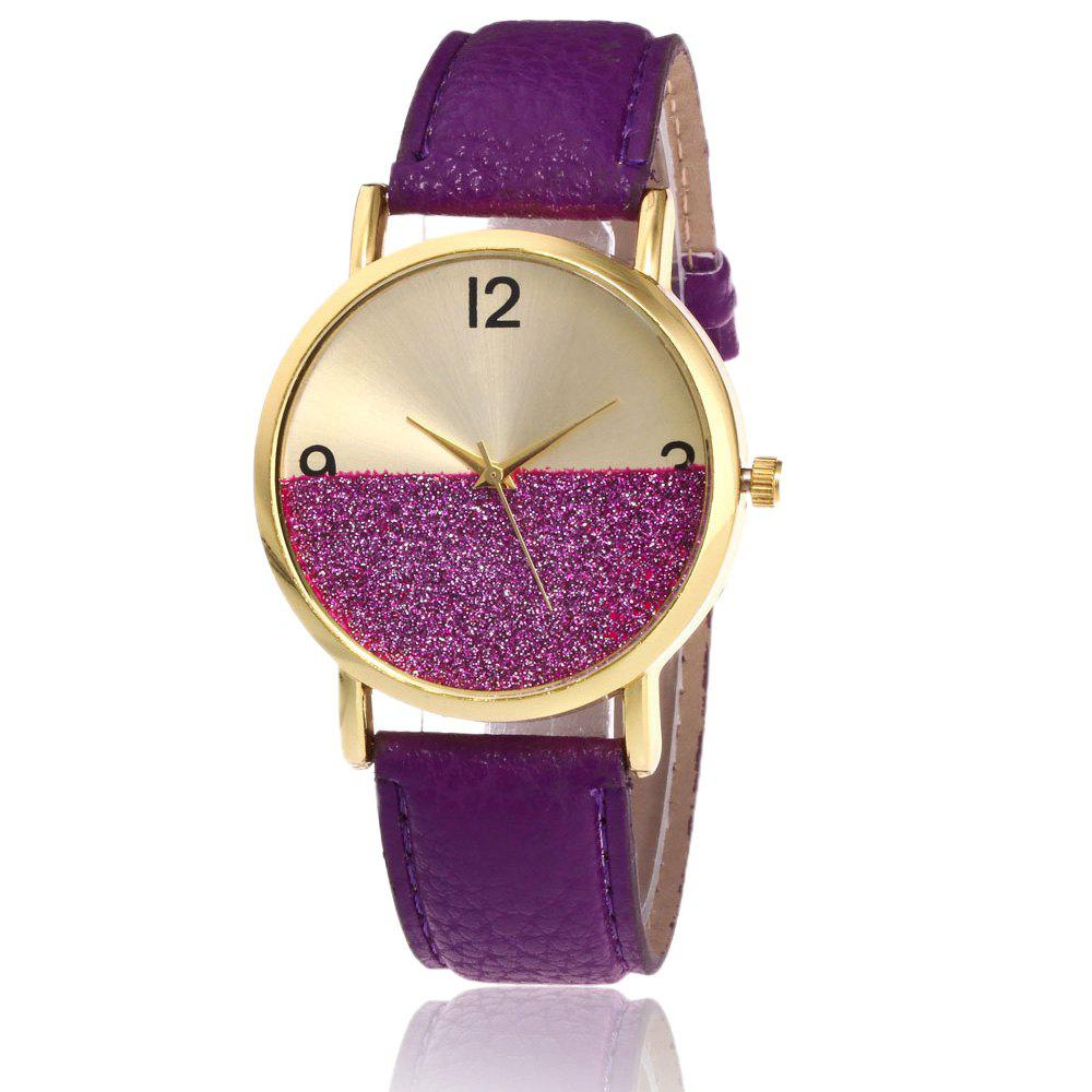 Glitter Face Faux Leather Strap WatchJEWELRY<br><br>Color: PURPLE; Gender: For Women; Style: Fashion; Type: Quartz watch; Index Dial: Analog; Case material: Alloy; Band material: PU Leather; Movement: Quartz; Dial Shape: Round; Water-Proof: No; Case Thickness(MM): 6mm; Dial Diameter: 3.8cm; Band Length(CM): 24cm; Band Width(CM): 1.8cm; Package Contents: 1 x Watch;