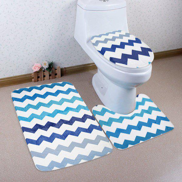 3Pcs Non Slip Chevron Pattern Tapis de toilette Set