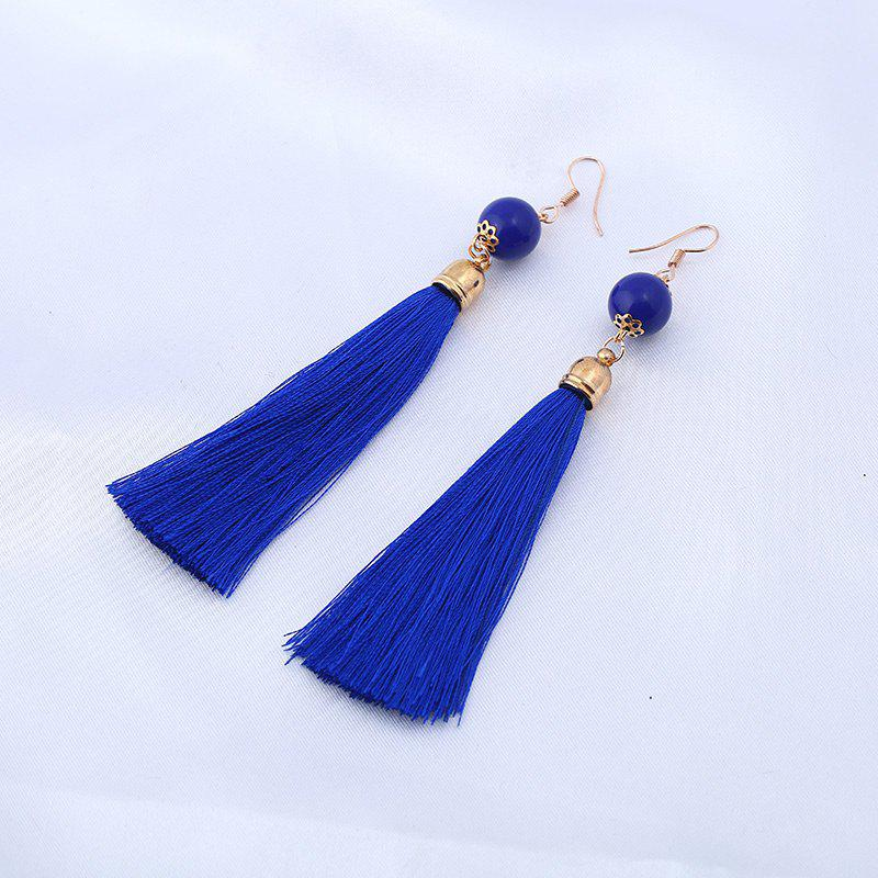 Bead Tassel Vintage Hook Drop EarringsJEWELRY<br><br>Color: BLUE; Earring Type: Drop Earrings; Gender: For Women; Style: Trendy; Shape/Pattern: Tassel; Length: 9CM; Weight: 0.0300kg; Package Contents: 1 x Earring (Pair);