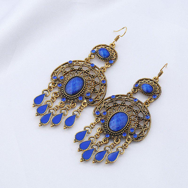 Faux Gem Teardrop Oval Chandelier EarringsJEWELRY<br><br>Color: BLUE; Earring Type: Drop Earrings; Gender: For Women; Material: Rhinestone; Style: Trendy; Shape/Pattern: Water Drop; Length: 7.6CM; Weight: 0.0300kg; Package Contents: 1 x Earring (Pair);