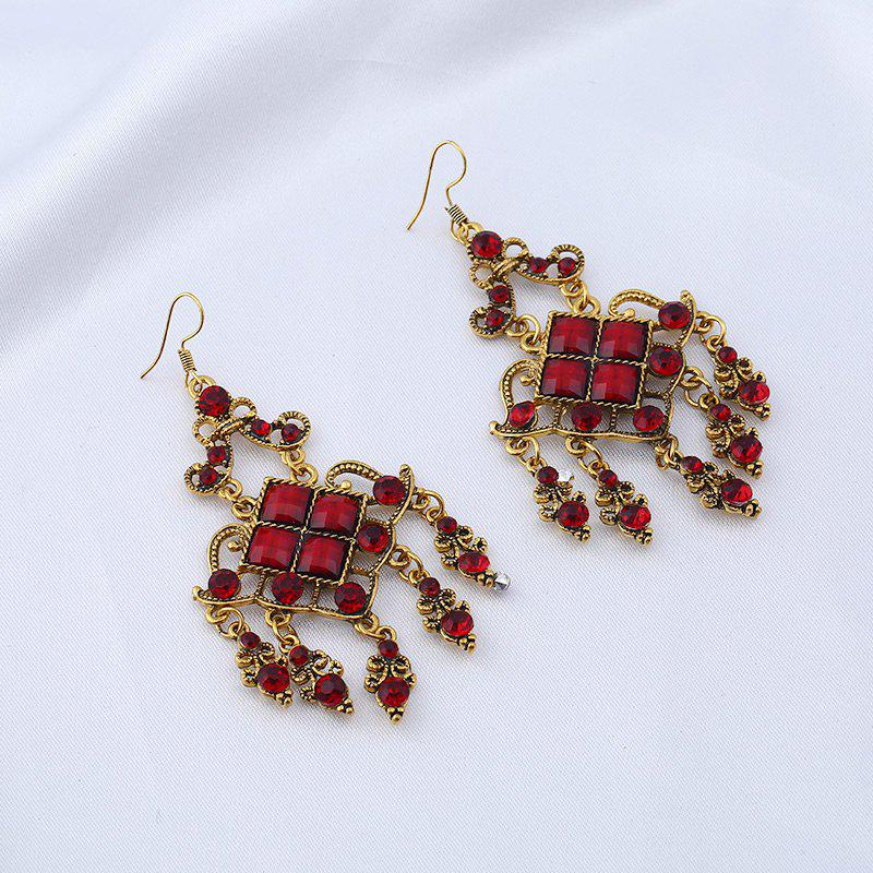 Rhinestone Geometric Vintage Chandelier EarringsJEWELRY<br><br>Color: RED; Earring Type: Drop Earrings; Gender: For Women; Material: Rhinestone; Style: Trendy; Shape/Pattern: Geometric; Length: 7.5CM; Weight: 0.0300kg; Package Contents: 1 x Earring (Pair);