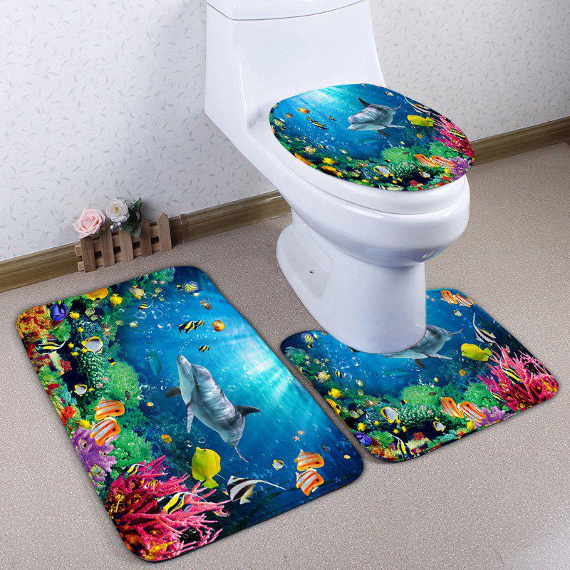 Sea World Print 3Pcs Skidproof Flannel Toilet Mat SetHOME<br><br>Color: BLUE; Products Type: Bath Mats; Materials: Flannel; Pattern: Animal; Style: Cute; Size: Pedestal Rug: 40*50CM, Lid Toilet Cover: 38*43CM, Bath Mat: 50*80CM; Package Contents: 1 x Pedestal Rug 1 x Lid Toilet Cover 1 x Bath Mat;
