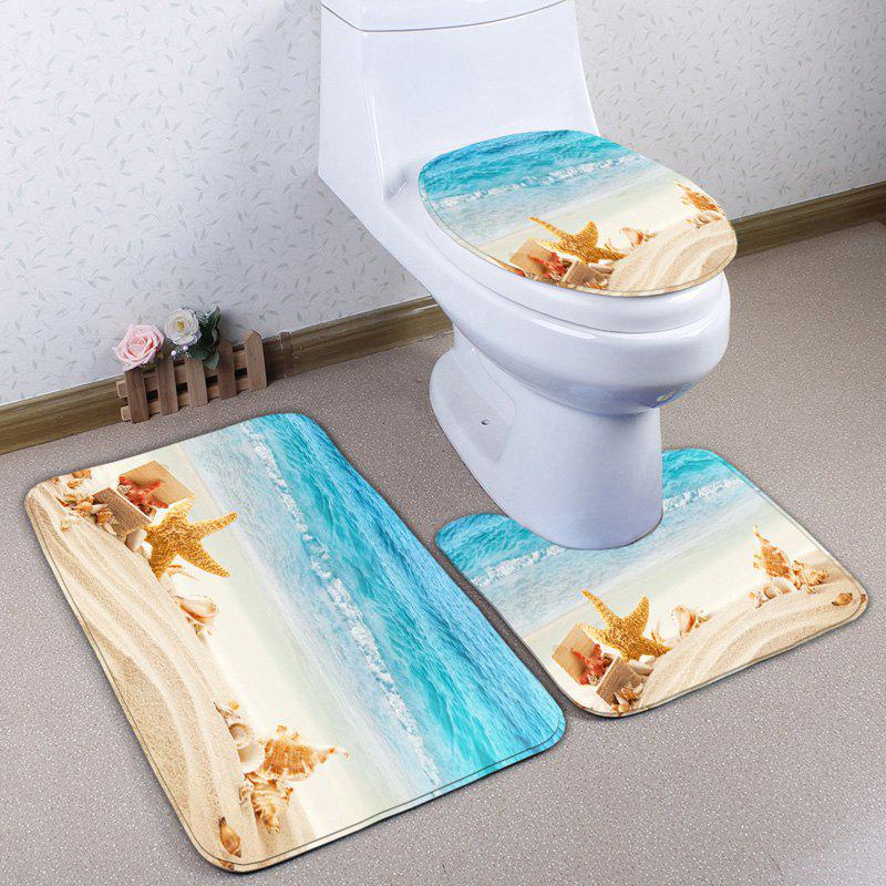 Fashion Conch Beach 3Pcs Antislip Flannel Toilet Mat Set