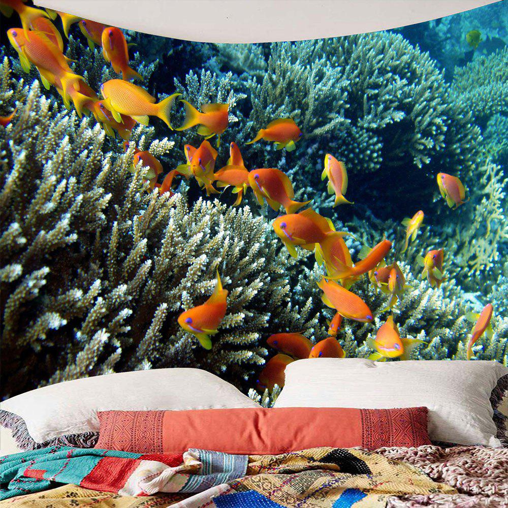 Underwater World Fish Shoals Corals Waterproof TapestryHOME<br><br>Size: W59 INCH * L59 INCH; Color: COLORFUL; Style: Natural; Theme: Landscape; Material: Polyester; Feature: Removable; Shape/Pattern: Fish; Weight: 0.2400kg; Package Contents: 1 x Tapestry;