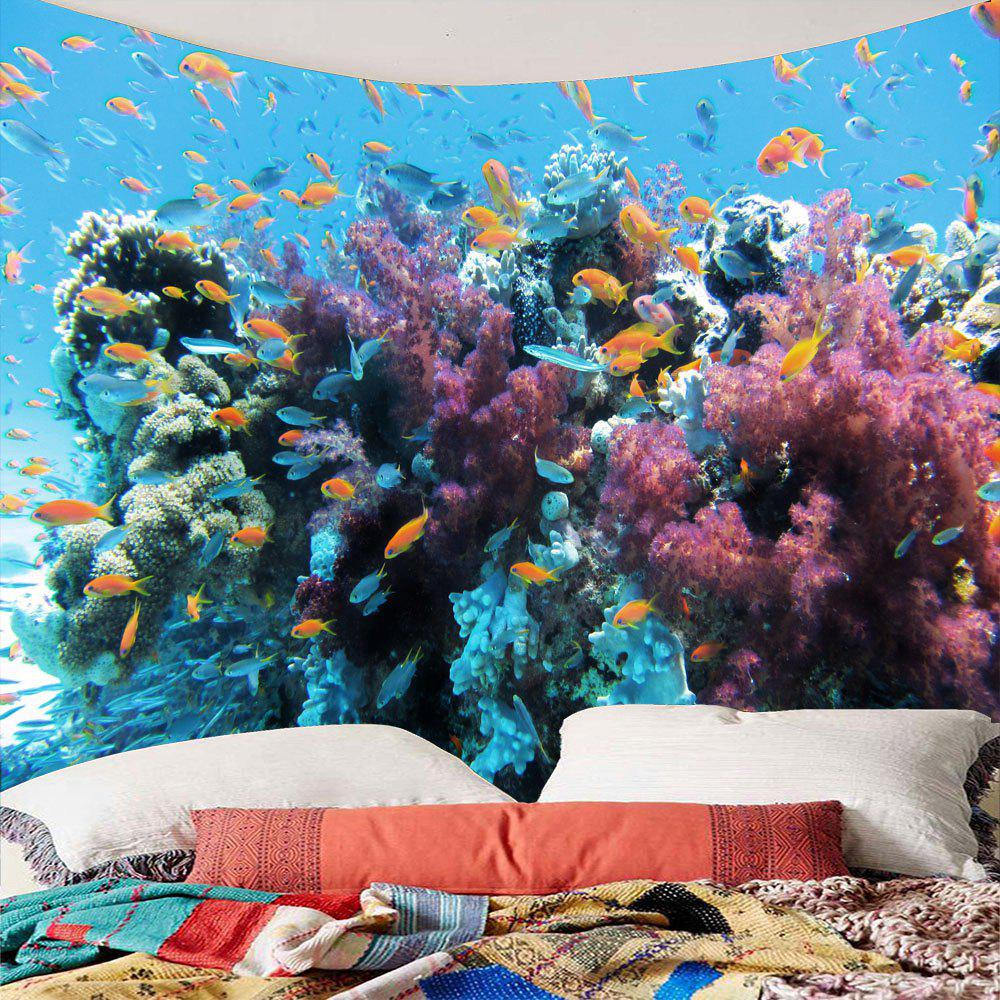 Waterproof Underwater World Fish Shoals Wall TapestryHOME<br><br>Size: W79 INCH * L59 INCH; Color: COLORFUL; Style: Natural; Theme: Landscape; Material: Polyester; Feature: Removable; Shape/Pattern: Fish; Weight: 0.3000kg; Package Contents: 1 x Tapestry;