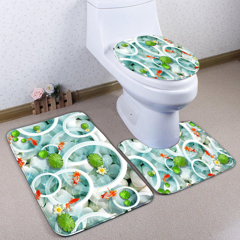 Shops Lotus Pond Flannel Skidproof 3Pcs Toilet Rug Set