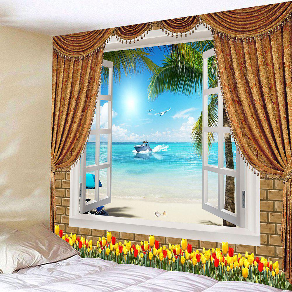 Outfits Window Seascape Flowers Waterproof Wall Tapestry