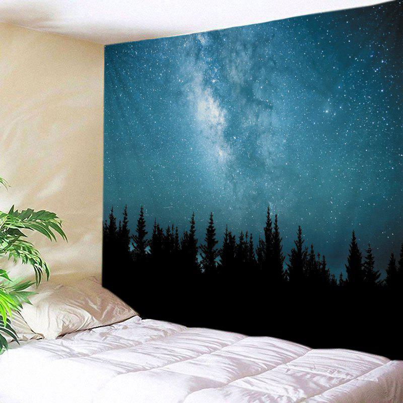 Starry Sky Forest Print Tapestry Wall Hanging Art DecorationHOME<br><br>Size: W79 INCH * L59 INCH; Color: LAKE BLUE; Style: Natural; Theme: Landscape; Material: Polyester; Feature: Washable; Shape/Pattern: Forest; Weight: 0.4500kg; Package Contents: 1 x Tapestry;