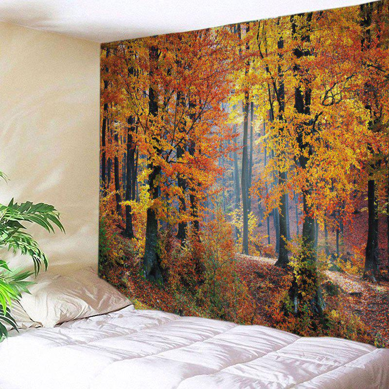 Maple Forest Print Tapestry Wall Hanging Art DecorHOME<br><br>Size: W59 INCH * L51 INCH; Color: CITRUS; Style: Natural; Theme: Landscape; Material: Polyester; Feature: Washable; Shape/Pattern: Forest; Weight: 0.4500kg; Package Contents: 1 x Tapestry;