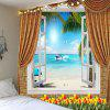Window Seascape Flowers Waterproof Wall Tapestry -